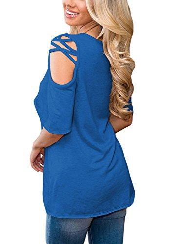 BeautyG Donna Scavato fuori le ragazze casuali delle ragazze teenager delle ragazze di T-shirt Azzurro