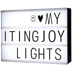 Cleo Cinema - Boîte lumineuse à LED avec lettres, chiffres et symboles noirs