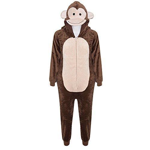 Kostüm Baby Gorilla (Kinder Mädchen Jungen Weich Flauschig Animal Affe Gorilla Leopard Schädel Camofulage Wolf Onesie Kostüm - Jungen, Affe, 7-8)
