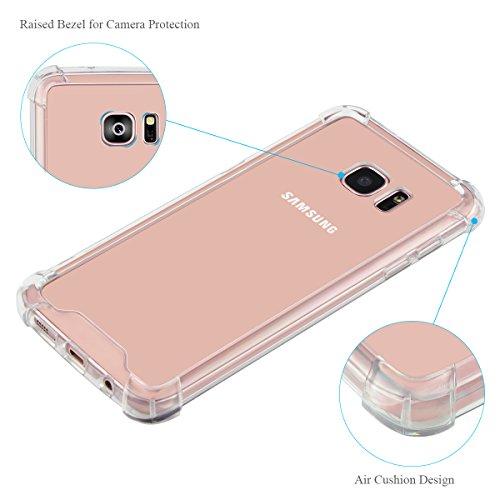 Cover Custodia Samsung Galaxy S7 Edge, Elzo 1.2mm Silicone TPU + PC Telefono Protettiva Case Custodia Shock-Absorption Bumper Cover e Anti-Graffio (5.5 inches) (Transparen Bumper Case) Paraurti Trasparente