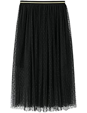 Yiiquanan Falda Larga de Tul Plisada de la Cintura Alta Impresión de Polka Dot Elegantes Faldas Verano Playa para...