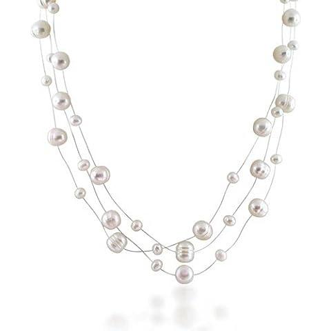 Bling Jewelry Plata Esterlina Perla Agua Dulce Novia Iluión Tres filamento Collar 16a