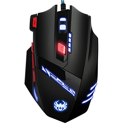 AMIR Gaming Maus, 9200DPI Gamer Maus, USB Kabel Gaming Maus mit 8 Tasten, LED,und USB-Wired Für Laptop/PC/MacBook/Computer (Chip Speicher Notebook)