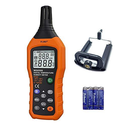 VLIKE Digitales Temperatur- und Luftfeuchtigkeitsmessgerät, tragbar, digitales Thermometer Hygrometer mit Taupunkt-Test Nasslampe