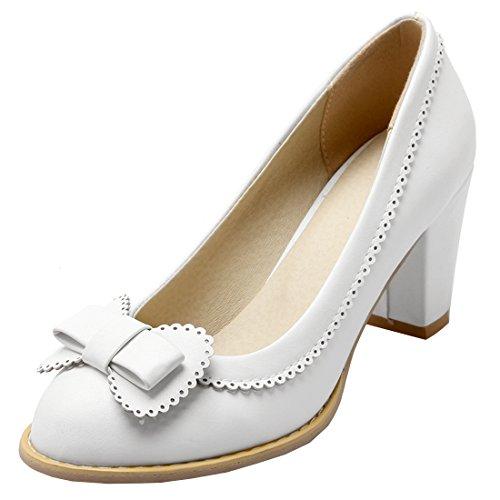 Artfaerie Damen High Heels Geschlossen Pumps mit Schleife und Blockabsatz Rockabilly Runde Zehe Schuhe