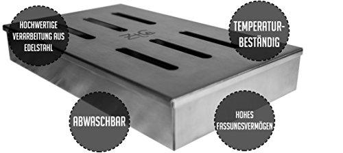 41RS3oMCaHL - ZTC Räucherbox | inkl. Rezept | rostfrei | Edelstahl | langlebig | Grillzubehör | Gasgrill | Kohlegrill | besondere Rauchnote | großes Volumen | Smokerbox | Anleitung | Männer Geschenk