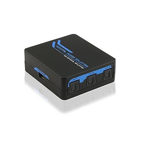 TNP Toslink SPDIF Audio Numérique Optique Splitter (3ports)–1x 3une entrée à trois sorties son adaptateur 3voies de distribution Répéteur amplificateur Split Boîte hub Prend en charge 5.1ch, Lpcm2.0, DTS, formats