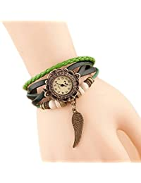 Nikgic 1pc Reloj de pulsera de mujer vintage Reloj de pulsera de alas Mesa de estudiante de moda (Verde)