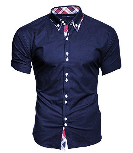 Kayhan Herren Kurzarm Hemd Hawaii Dunkelblau (XL)