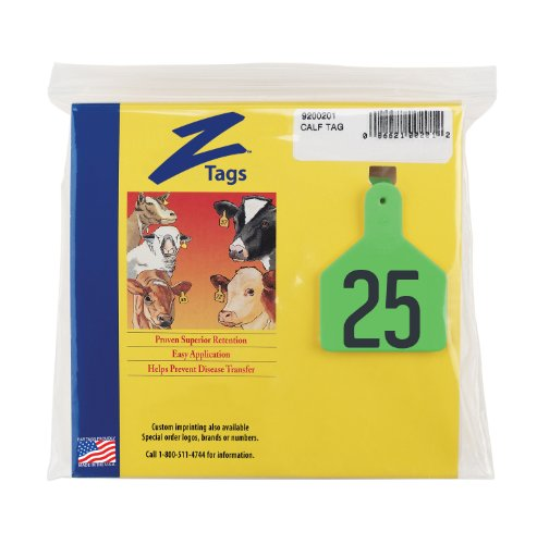 z etiquetas–pre-numbered caliente etiquetas sello para terneros, números del 1al 25, verde