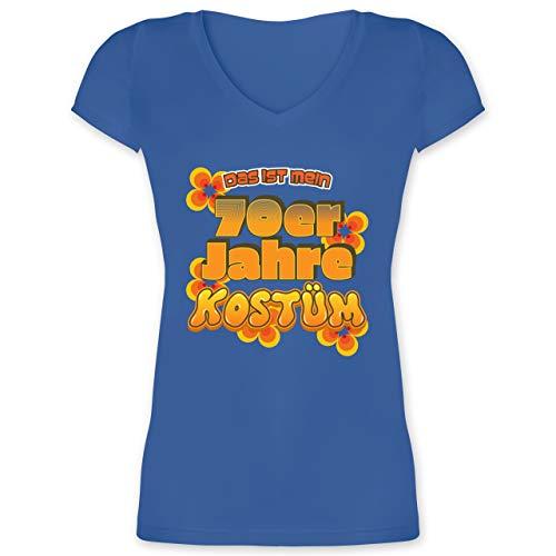 Karneval & Fasching - Das ist Mein 70er Jahre Kostüm - M - Blau - XO1525 - Damen T-Shirt mit - Blumenkind Kostüm Frauen