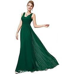 Ever-Pretty Abito da Sera Scollo a V Donna Lunga Chiffon Impero Verde Scuro 36