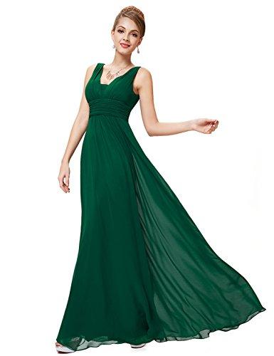 Ever-Pretty Robe de Soiree en Double V-col de Style Empire 36 Vert Foncé
