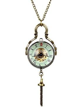 JewelryWe Damen Taschenuhr, Retro Handaufzug Mechanische Uhr mit Römische Ziffer Zifferblatt, Pullover Halskette...