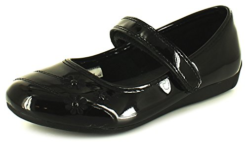 new-girls-childrens-black-goody-2-shoes-bridlington-touch-fasten-shoes-black-patent-uk-size-12
