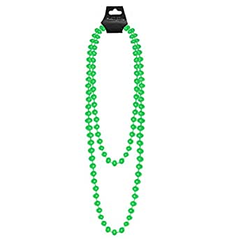 NEON PLASTIC BEADS 48? LONG NECKLACE STAG HEN NIGHT PARTY BRIGHT UV FANCY DRESS[Green ,One Fits Most]