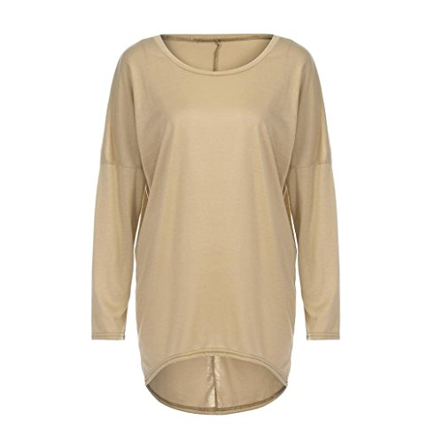 OverDose Donna Camicetta Elegante Maglia Blusa T shirt Manica Lunga cachi