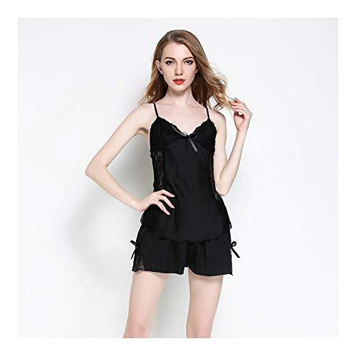 824d7af448844 HAOLIEQUAN Ladies Spaghetti Strap Pajamas Set Tops Shorts Sleepwear Women  Lace Satin Silk Nightwear Home Clothing