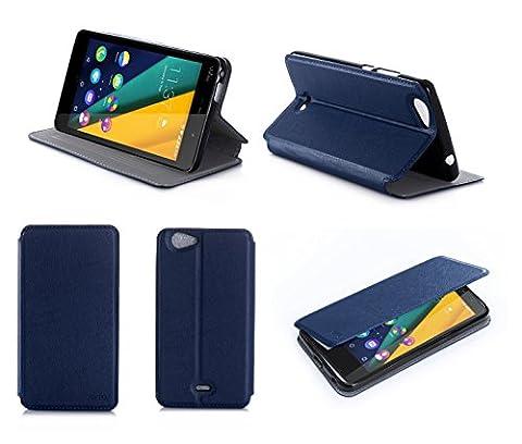 Etui Wiko Pulp 4G/LTE bleu luxe Ultra Slim Cuir Style