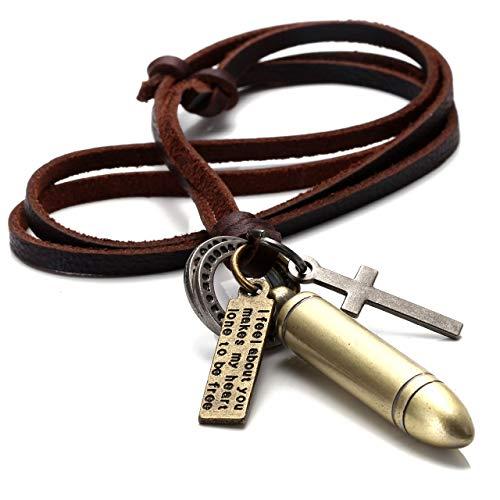 Zysta Herren-Halskette, mit verschiedenen Anhängern: Patronenhülse im Vintage-Goldton, Kreuz, Ringe, Lederhalskette, 40,6 - 81,3cm