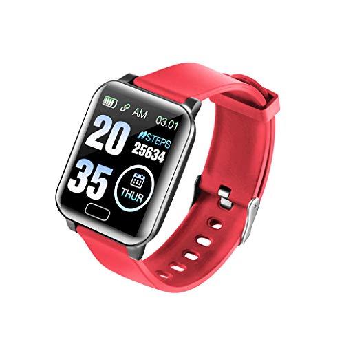 Mumuj Fitness Armband Farbbildschirm mit Pulsmesser, Fitness Tracker IP67 Wasserdicht 1,3 Zoll Aktivitätstracker Sport Smartwatch Schrittzähler Pulsuhren Smart Watch für Herren Damen (Rot)