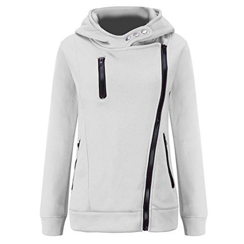WanYang Sweats à Capuche Femme Manches Longues Hoodie zippé Pull Sweatshirt Pullover Sport Tops Jumper Automne Hiver Blanc