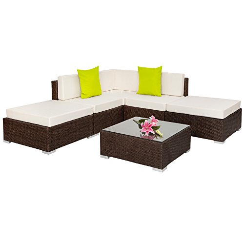 TecTake Hochwertige Aluminium Polyrattan Lounge Sitzgruppe mit Glastisch inkl. Kissen und Klemmen -...