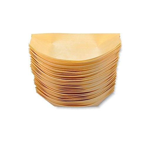 Petits bateaux en bois de bambou de 17 x 9 cm - Idéal pour les fêtes et les banquets - Lot de 100 (P303) marron