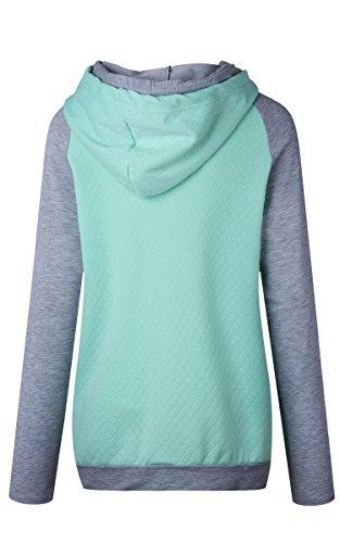 ECOWISH Damen Kontrastfarbe Pulli Pullover Rollkragen Sweatshirt Kapuzenpulli Top Hoodies Grün XL - 6