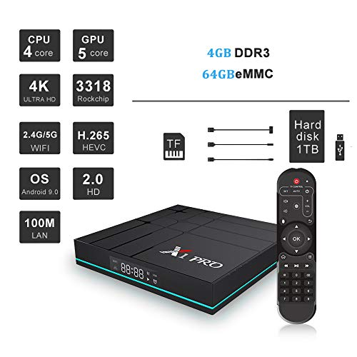 TV-Set-Top-Box Smart-Player Android 9.0 Dual-Band WiFi 2G 16G / 4G 32G / 4G / 64G Unterstützung Decoder Format 4K VP9 Video Decoder, H.265 / H.264 Video Decoder,C Asf Zu Mp3 Konverter