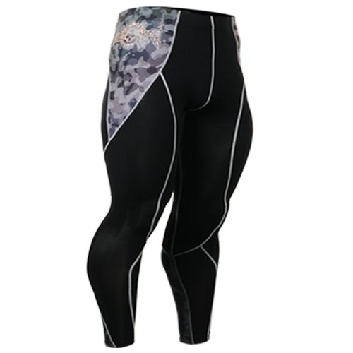 Fixgear Hommes Femmes Military Print Spandex Tights Compression Pants S ~ 2XL Black
