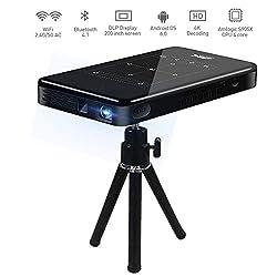 Garsent Mini DLP Projektor, 3D 4K HD 1080P tragbarer intelligenter WiFi DLP Beamer Projektor mit Stativ Heimkino Media-Player unterstützt Android-System/HDMI/USB/Bluetooth/TF-Karte (EU 100-240V)