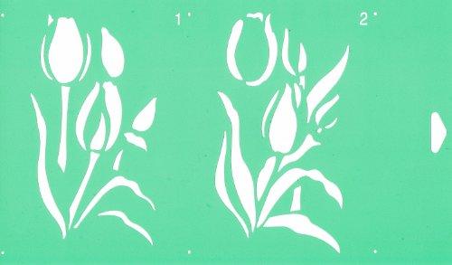 30cm x 17,5cm Flexibel Kunststoff Universal Schablone (2 Schritten) - Textil Kuchen Wand Airbrush Möbel Dekor Dekorative Muster Torte Design Technisches Zeichnen Zeichenschablone Wandschablone Kuchenschablone - Tulpen Blumen Blätter