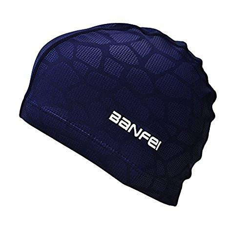 SheShy Herren Flexible Wasserdicht Feuchtigkeitsbeständige Erwachsene Größe Schwimmen Cap Baumwolle Faser Schwimmen Hut (Blau)