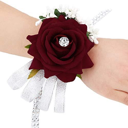 Dressfan festa nuziale da sposa damigella d'onore rosa polso fiore per le donne ragazze nastro fiore polso corsage braccialetto braccialetti per la cerimonia nuziale partito di promenade rosa rosa