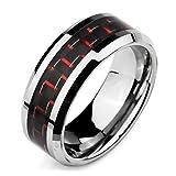 MunkiMix Breite 8mm Wolframcarbid Wolfram Kohlenstoff Carbon Fiber Kohlefaser Ring Bequeme Passform Band Silber Ton Rot Schwarz Größe 57 (18.1) Herren