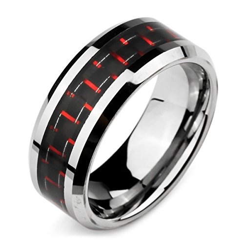 MunkiMix Breite 8mm Wolframcarbid Wolfram Kohlenstoff Carbon Fiber Kohlefaser Ring Bequeme Passform Band Silber Ton Rot Schwarz Größe 72 (22.9) Herren (Herren Schwarz Kohlenstoff Faser Ring)