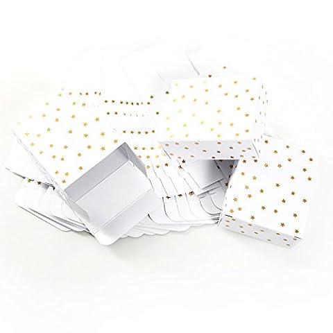 24 kleine weiße mini weihnachtliche Geschenkschachteln mit goldenen Sternen (10 x 4 x 8 cm) - Geschenkboxen Weihnachtsverpackung für Weihnachtsgeschenke, Schachteln zum Adventskalender