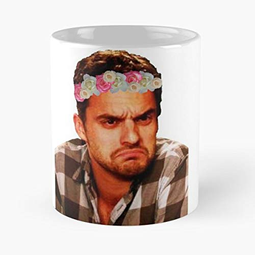 Flower Floral Crown Nick Miller New Girl Tv Shows Frown - Best 11 Ounce Ceramic Coffee Mug Gift - Tv New