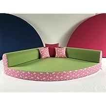 Kuschelecke Viertelkreis 140x140cm, Inklusive Kissen, Farbe  Unterschiedliche Motive Der Hintergrund Ist Nicht Immer Rosa