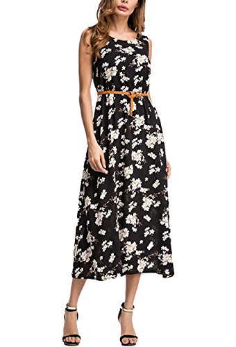 328c2e197544 TYQQU Womens Long Maxi Dress Floral Print Swing Dress Chiffon Dress,Navy  Blue,2XL