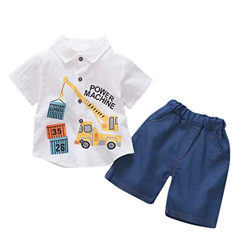 leidung Set, Kinder Jungen Crane Print Kurzarm Shirt Shorts T-Shirt Tops Hosen Kurze Hose Outfits 6 Monate - 3 Jahre ()