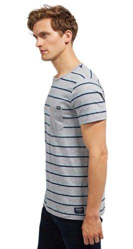 Tom Tailor Denim für Männer T-Shirt gestreiftes T-Shirt mit Brusttasche slightly creamy