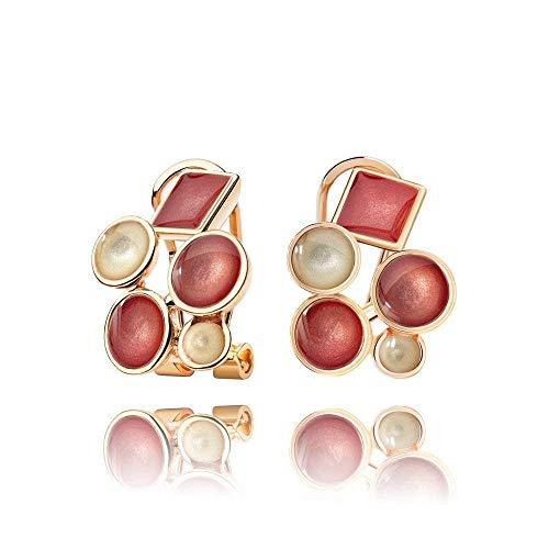 Elegante Korallen Rote und Champagner Ohrringe Goldfarben für Mama