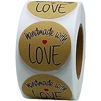 """Rollo de 500 pegatinas Hybsk(TM), redondas, de 3,81 cm, hechas a mano, con texto en inglés """"Handmade with love"""", con fuente de color negro 1 rollo"""