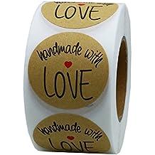 Hybsk (TM) 1.5inch Round Natural Kraft hecho a mano con amor pegatinas con Negro Fuente Total 500Etiquetas adhesivas por rollo 1 rollo