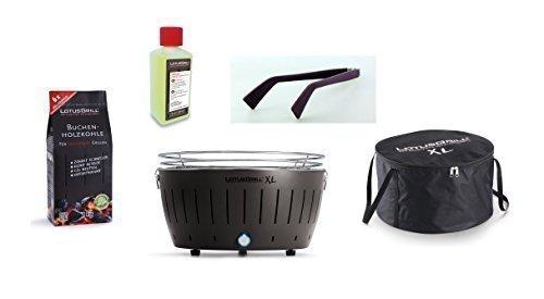 LotusGrill XL Starter Set 1 X XL grigio antracite 1 X carbone di faggio 1 kg, 1 X pasta combustibile 200 ml, 1 X pinza per salsicce lilla, 1 X borsa per il trasporto XL - Il barbecue a carbonella a basso fumo