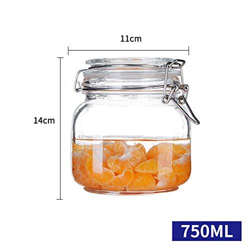 JLDWHS Klarglas Gläser Luftdichten Kanister Küche Vorratsbehälter Für Süßigkeiten, Keks, Reis, Zucker, Mehl 2Pcs @ F (Gelb Kanister-sets Küche)
