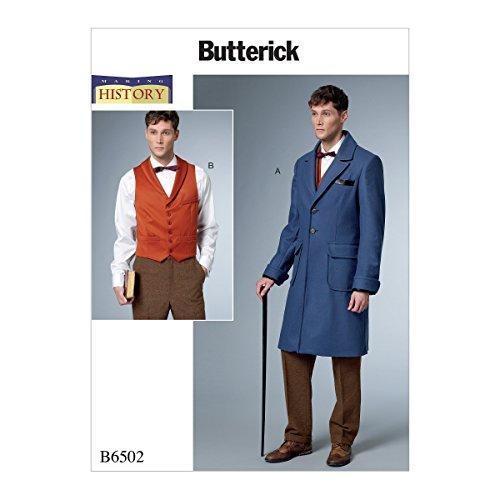 Butterick Patterns B6502MWW Herren Mantel mit Rückengürtel und Weste mit Schnalle MWW - Mccalls Patterns Kostüm Historische