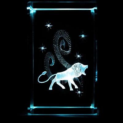 Kaltner Präsente Sternzeichen Löwe LED Kerze mit Farbwechsel - 3D Laser Kristall Glasblock Stimmungslichter mit Beleuchtung von Kaltner Präsente auf Lampenhans.de